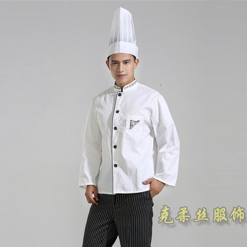 饭店白色双排扣厨师服订制