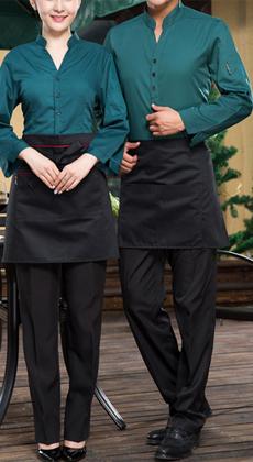 武汉定做长袖酒店工作服秋冬装餐饮西餐厅服务员饭店制服男女餐厅衬衣