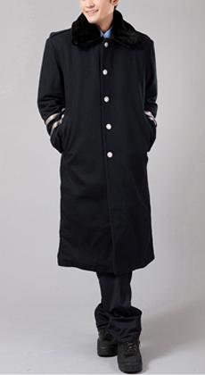 棉服冬装呢子大衣棉衣服装长袖保安制服加厚直筒物业工作服定做