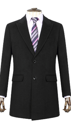 厂家量身定做男士商务修身西装领长款羊绒毛呢大衣外套定制 两粒扣风衣外套
