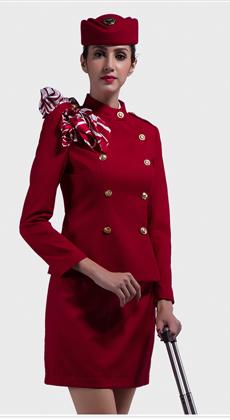 厂家定制空姐制服 春秋新品职业女裙套装 航空长袖修身工作服定做
