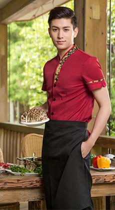 餐饮服务员短袖制服套装定做