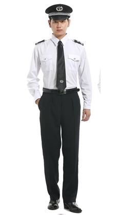白色长袖衬衣保安服定做
