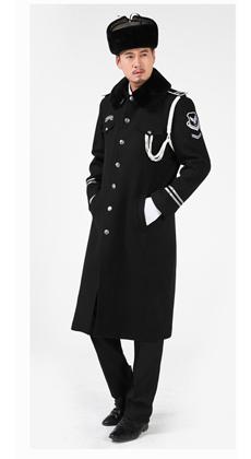 厂家定做新款保安服冬保暖 物业保安呢大衣 中长款时尚黑色保安冬装大衣