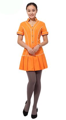 工作服 制服厂家定做甜美 橘黄色套裙按摩技师服服装 桑拿技师服