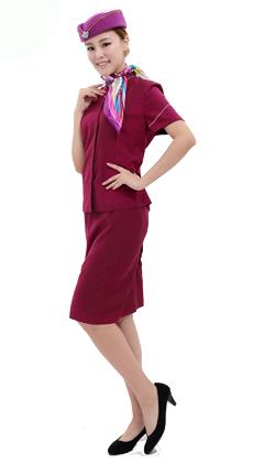 厂家定做夏季短袖修身套群 空姐服 电梯员服 导医工作服