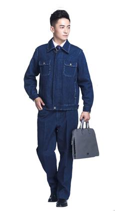 厂家批发秋冬季工程劳保服带反光带厂服 长袖加厚牛仔工作服套装男电工电焊工作服