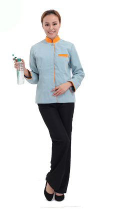 武汉光谷服装厂定做立领拼色物业保洁服套装酒店清洁员制服套装 客房服务员长袖工作服