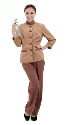 定做秋冬物业工作服咖啡色男女保洁员长袖套装 酒店制服 客房服务员工作服套装