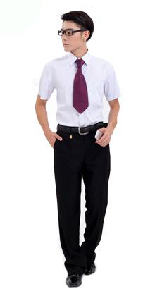 定制短袖男式商务办公工作服白领制服 武汉服装厂定做公司职业套装