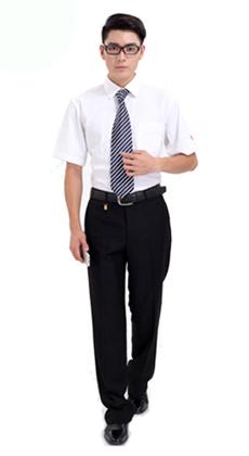 厂家定做夏季短袖男式商务办公工作服西服套装 公司职业装定制 商务西套定做