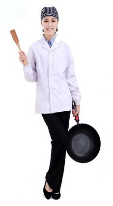 枪驳头防油防水春秋男女长袖厨师服 快餐食堂厨师工作服 餐厅宾馆后厨厨师服
