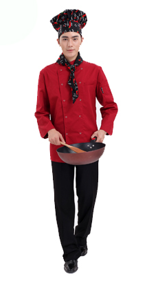 定做防油防水长袖厨师服