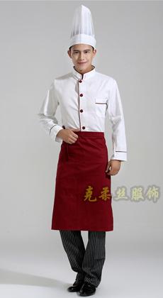 长袖单排扣厨师工作服订制