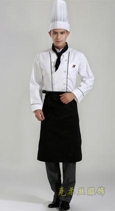 克柔丝定做饭店西餐厅厨师工作服秋冬 酒店厨师服男女 白色厨师服长袖 面包房工衣
