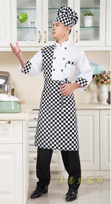 饭店食堂长袖厨师服定制厂家