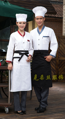 克柔丝定做酒店厨师长制服秋冬 食堂厨师服长袖 酒楼餐厅后厨厨师工作服男女