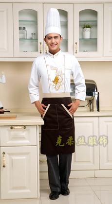 厂家订做绣龙厨房餐厅厨师服 厨师长工作服秋冬 酒店厨师工作服长袖