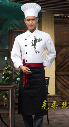 秋冬款立领长袖厨师服订制