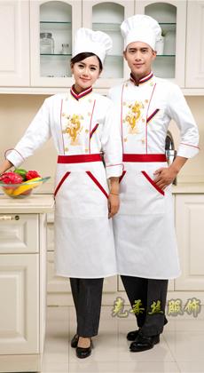 酒店厨师工装定做 餐厅食堂绣龙厨师工作服秋冬 饭店厨师制服定制 拼色厨师服厂家