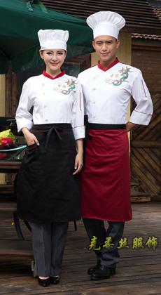 厂家定制厨师服长袖 酒店厨师工作服秋冬 饭店餐厅厨师服装男女 面包房工服
