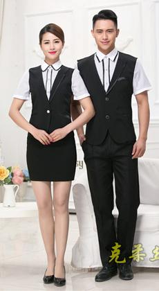 厂家定做餐厅服务员工作服男女 酒店制服夏  餐饮快餐店服务员短袖服装 银行职员工装