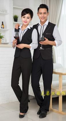 厂家定做酒吧马甲假两件服务员服装长袖 酒店工作服秋冬 宾馆前台KTV员工制服男女