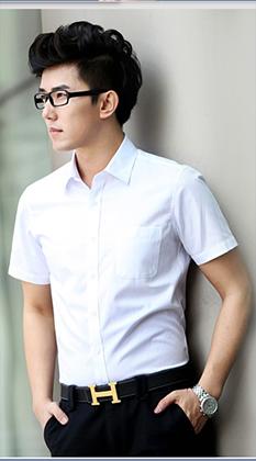夏季短袖白衬衫-男士修身纯色商务工装-职业正装衬衣