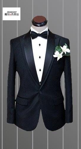 服装厂家量身定做定制黑男士色商务白领西服韩版修身休闲双领西装 修身一粒单排扣